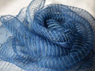 【藍染め】タッサー&ノイルシルクボーダー柄ストール 薄藍色の画像