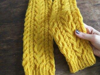 手編み★シェットランドウール100%★レッグウォーマー・アラン模様★ニット・手編み★yellow★黄色の画像