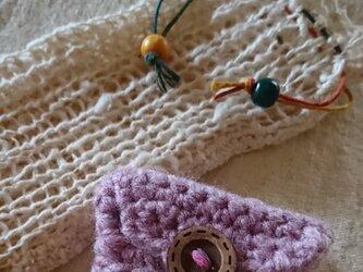 手編み*綿わた そのまま、無垢のオーガニックコットンで編んだ携帯ケースとミニミニ小物いれのセット♪の画像
