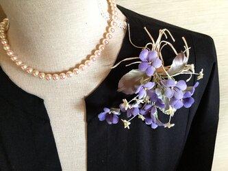 スミレと小花の花束の画像
