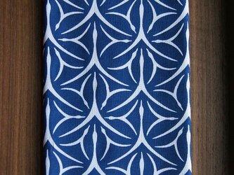 天然藍の型染め手拭い  麻鶴の画像