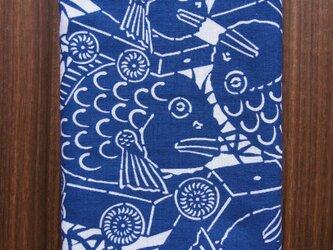 天然藍の型染め手拭い 鯛車の画像