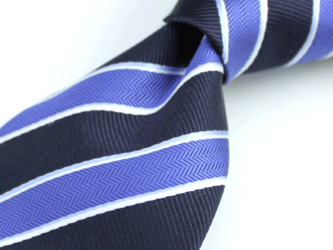 【受注制作】ツートーンストライプ・ブルー×ブラック/ハンドメイドネクタイの画像