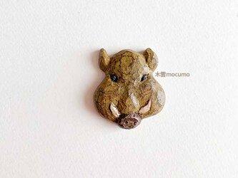 クスノキのブローチ *イノシシ かお* の画像
