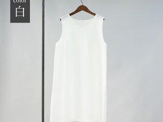【wafu】薄地 雅亜麻 リネン ペチワンピース Vネック やさしい インナー 肌着 下着 / 白色 p006a-wht1の画像