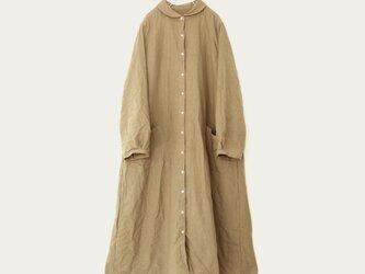 ベルギーリネン丸襟シャツワンピース*ベージュの画像