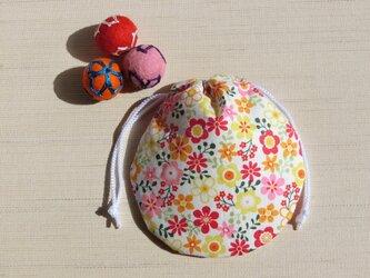 ミニ巾着  カラフル小花模様 御守り 小物収納 プレゼントにも の画像
