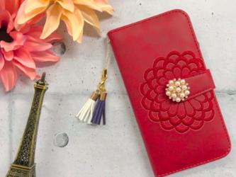 【新作】iphone6/6s/7/8 手帳型iphoneケース レザー花柄 刺繍の画像