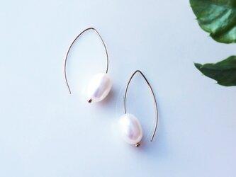 14KGF淡水真珠のつぼみマーキスピアス ~Ninaの画像