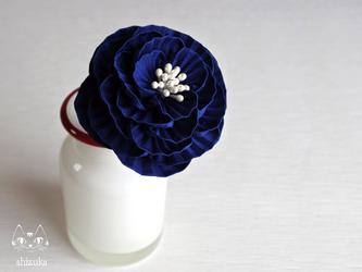 乙女牡丹✿紺 コームor簪 つまみ細工 卒業式・結婚式・着物・お花見の画像