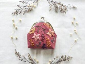 小鳥と草花のがま口の画像