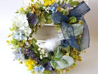 春の彩り~FlowerMix小鳥付き* 小さなリース☆Sサイズ(25㎝)☆の画像