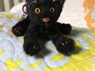 黒猫キーホルダーの画像