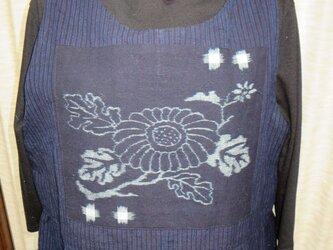 木綿縞絵絣ジャンパースカートの画像