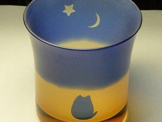 ねこと金星と三日月のロックグラス A(1個)の画像