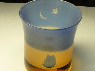 ねこと金星と三日月のロックグラス B(1個)の画像