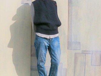 リネンウールベスト*ネイビー Mサイズの画像