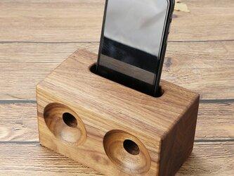 受注生産 職人手作り ウッドスピーカー/スマホスピーカー 北欧 木工 雑貨 木製 ウッド スマホスタンド 暮らしの雑貨の画像