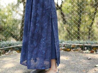 【受注製作】天然素材で・手染生地製作したロングスカート リンネ麻の画像