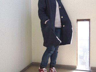 【受注製作・S/M/Lサイズ】リネン ベーシックコート/濃紺の画像