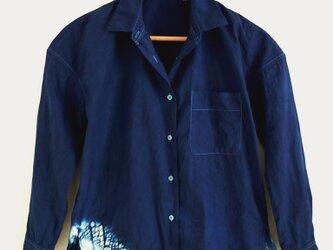 ◆100%自然素材 天然灰汁発酵建て 本藍染◆ GIZAコットン フロントオープンチュニックシャツ の画像