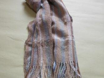 手織り マフラー MUF102A サンドベージュ シルク ウール キッドモヘアー男女共用の画像