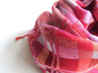 手織りカシミアストール・・ピンク×赤の画像