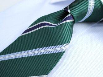 【受注制作】ブリティッシュグリーンのストライプ/ハンドメイドネクタイの画像