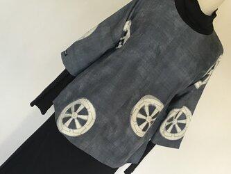 0223    着物リメイク    プルオーバー     M寸法     手織り真綿紬      源氏車の画像
