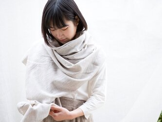 Organic Cotton 大判ヤク混薄手ストール(ヤクビエラ)の画像
