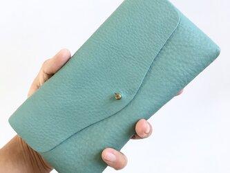 【春の新色】牛シュリンクレザーと牛床ベロアのシンプル長財布[スカイブルー]の画像