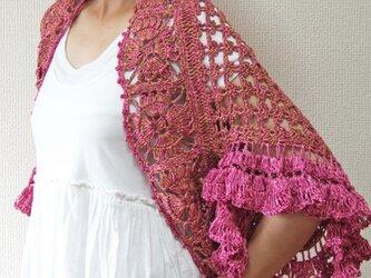 フリル袖のかぎ針編みスクエアボレロ ピンクの画像