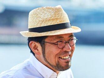 アラン 中折れ 麦わら帽子 ストローハット 麦わら 帽子 ナチュラル 59cm [UK-H014-NA-L]の画像