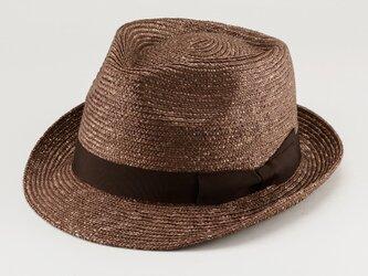 アラン 中折れ 麦わら帽子 ストローハット 麦わら 帽子 ブラウン 57.5cm [UK-H014-BR-M]の画像