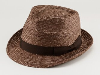 アラン 中折れ 麦わら帽子 ストローハット 麦わら 帽子 ブラウン 59cm [UK-H014-BR-L]の画像
