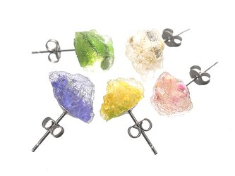 森の花たちの彩り鉱石ピアス【5色セット】の画像