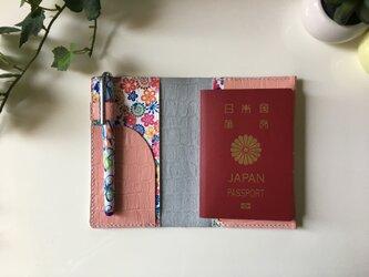 パスポートケース☆桜ピンク×花柄の画像