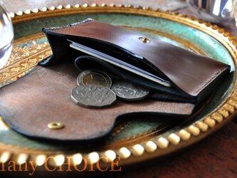 スムースプルアップレザー・ミニマム財布(マホガニー×ブルーグリーン)の画像
