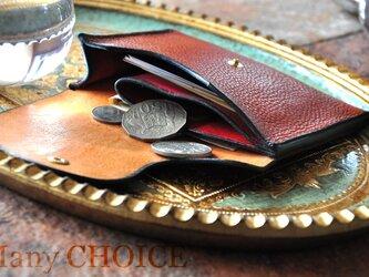 イタリアンオイルレザーアリゾナ・ミニマム財布(コニャック×マルボロ)の画像