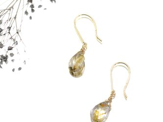 1st anniversary sale!! K10YG Rutilated Quartz pierceの画像