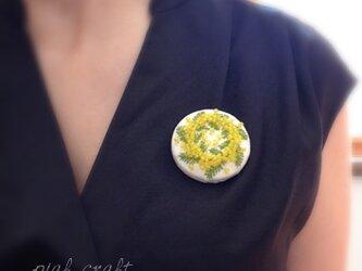 ミモザのリース ブローチの画像