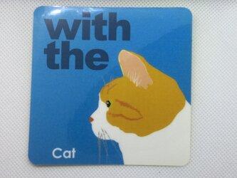 茶トラハチワレ 横顔 ステッカー CAT IN CAR 玄関 車 キャリーバッグの画像