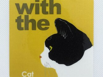 ハチワレ 横顔 ステッカー CAT IN CAR 玄関 車 キャリーバッグの画像