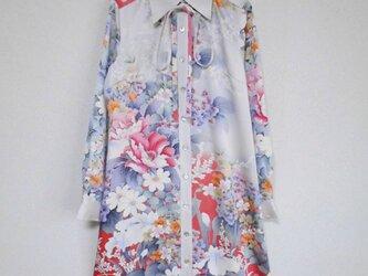 着物ロングシャツ(ボウタイ付き)  Kimono Long Shirt  LO-158/Mの画像
