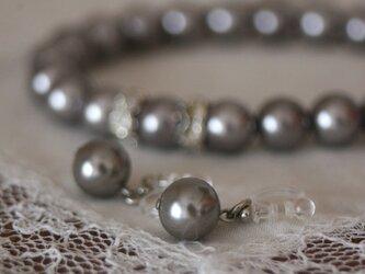 卒業式/入学式*2点セット脱着楽々 パール ネックレス ノンホールピアス シルバー 卒園式 入園式 ウエディング 結婚式 真珠の画像