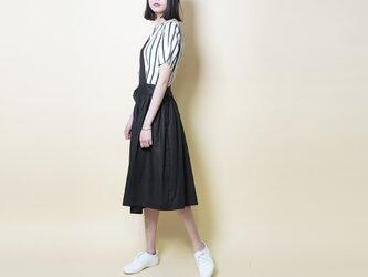 【数量限定ハンドメイド2019】麻100 ワンショルダー スカート黒の画像
