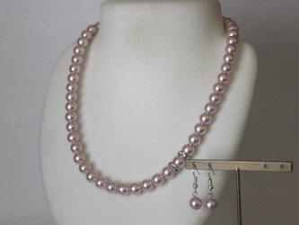 卒業式/入学式*2点セット脱着楽々パール ネックレス ピアス ピンク 卒園式 入園式 ウエディング 結婚式 真珠 ブライダルの画像