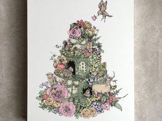 動物たちのケーキ(イラストパネル)の画像