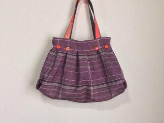 着物リメイク 薄紫タックバック 絹 の画像