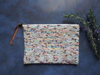 手織りのポーチ 「モネの庭・・・」の画像